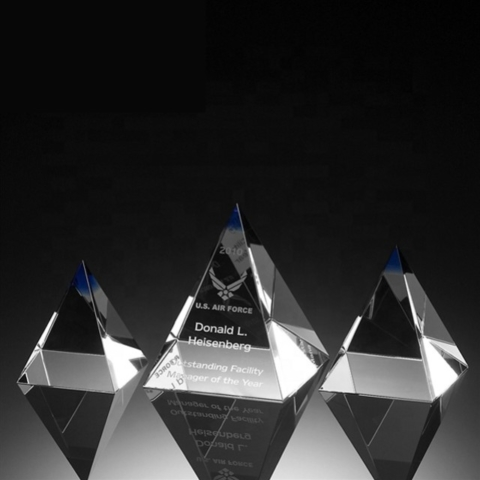 Crystal awards trophies corporate sports golf tennis football cheap personalised custom quality 3D Engraving pyramid
