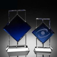 Crystal awards trophies corporate sports golf tennis football cheap personalised custom quality blue