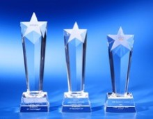 Crystal awards trophies corporate sports golf tennis football cheap personalised custom quality stars