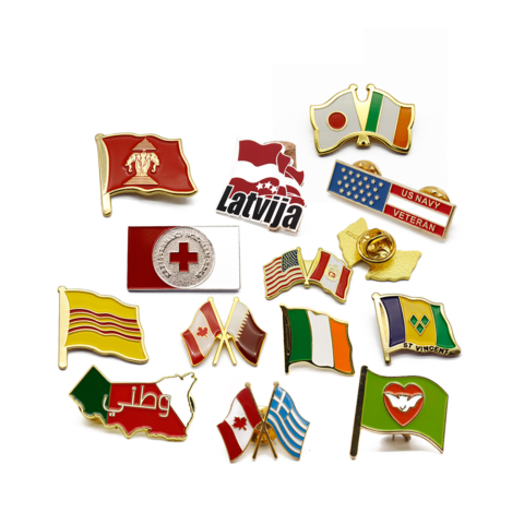 Badges lapel pins medals medallions cheap quality enamel plastic metal soft hard sports golf tennis football cheap personalised custom quality flags