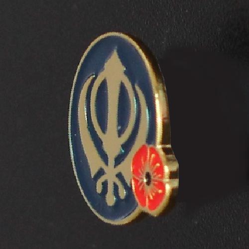 Remembrance Sikh Khanda Khalsa Poppy Lapel Pin Badge Tie Pin