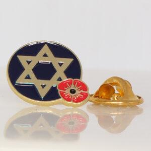 Zionist Jewish Star of David Poppy Lapel Pin Badge Tie Pin