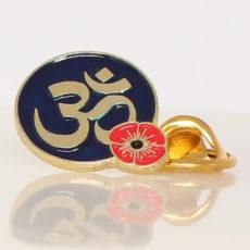 Hindu Om Poppy Lapel Pin Badge