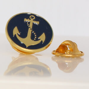 Anchor Sailing Lapel Pin Badge Tie Pin Navy Blue Round