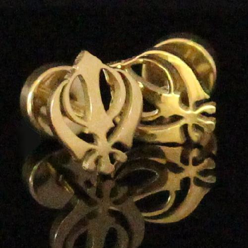 Gold Sikh Khanda Khalsa Stud Earrings