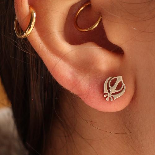 Silver Sikh Khanda Khalsa Stud Earrings