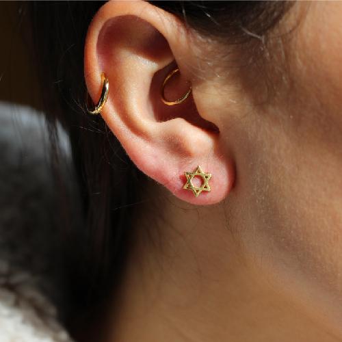 Gold Zionist Jewish Star of David stud earrings